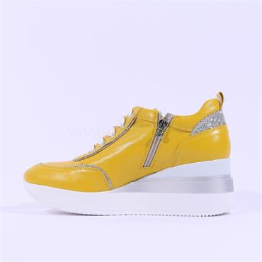 Marco Moreo Lace Wedge Shoe Gianna - Yellow Leather