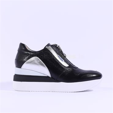 Marco Moreo Zip Front Wedge Shoe Gianna - Black Leather