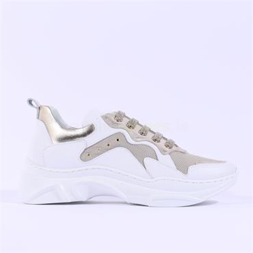 Marco Moreo Laced Chunky Trainer Martina - White Gold Leather