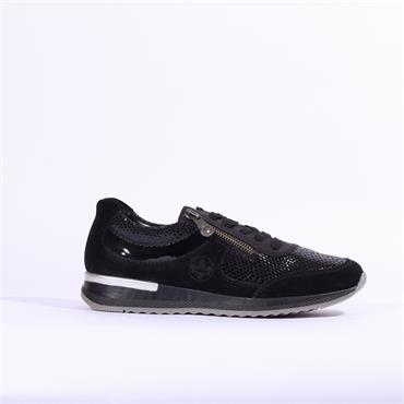 Rieker Kenia Twin Zip Croc Print - Black Combi