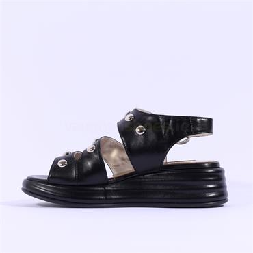 Marco Moreo Studded Strappy Sandal Jaja - Black Leather