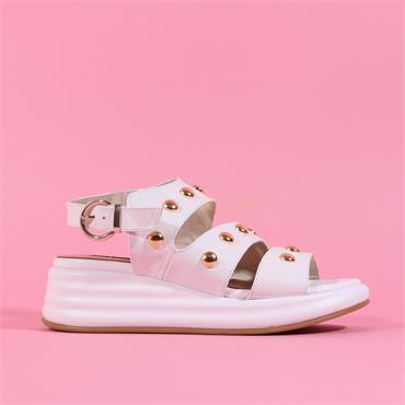 Marco Moreo Studded Strappy Sandal Jaja - White Gold Leather