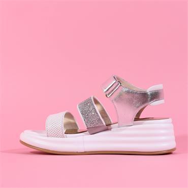 Marco Moreo Platform Strappy Sandal Jaja - White Silver