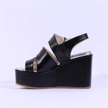 Marco Moreo Wedge Side Zip Sandal Jodie - Black Leather