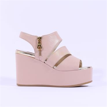 Marco Moreo Wedge Side Zip Sandal Jodie - Nude Leather