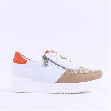 Rieker Laced Trainer With Side Zip - White Tan Orange