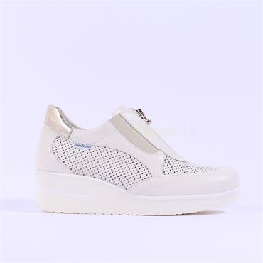 Marco Moreo Perforated Wedge Lola - Cream Leather