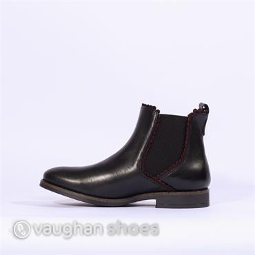 Nano Ankle Boot Side Gusset Trim Detail - Black Bordo