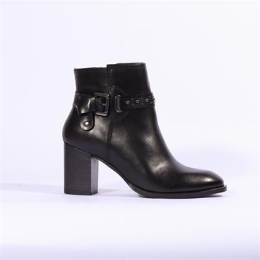 Nano Block Heel Boot Buckle Stud Strap - Black Leather