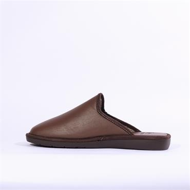 Nordikas Mens Leather Mule House Slipper - Brown