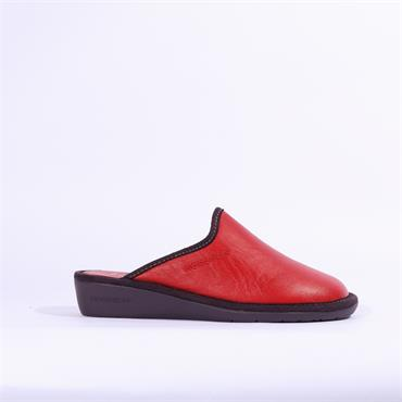 Nordikas Womens Leather Mule Slipper - Red Combi