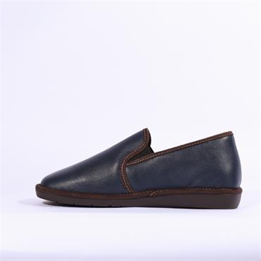 Nordikas Mens Leather House Slipper - Navy