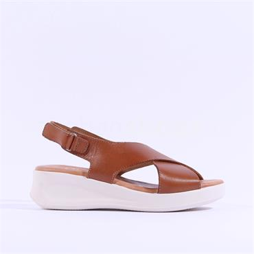Oh My Sandals Criss Cross Wedge Sandal - Tan