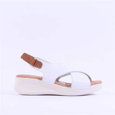 Oh My Sandals Criss Cross Wedge Sandal - White