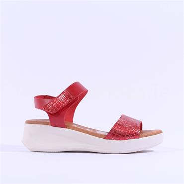 Oh My Sandal Croc Low Wedge Sandal - Red Croc