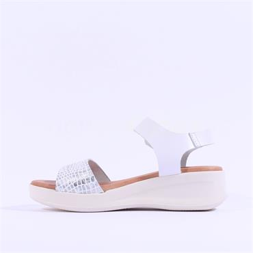 Oh My Sandal Croc Low Wedge Sandal - White Croc