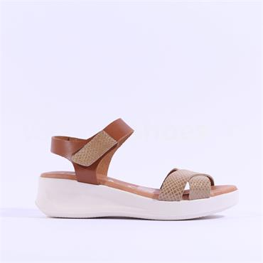 Oh My Sandals Cross Strap Wedge Sandal - Beige Tan