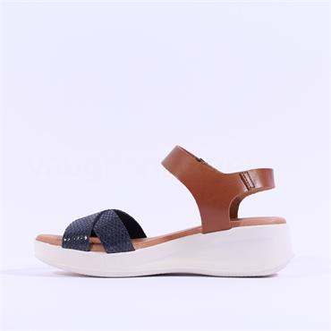 Oh My Sandals Cross Strap Wedge Sandal - Navy Tan