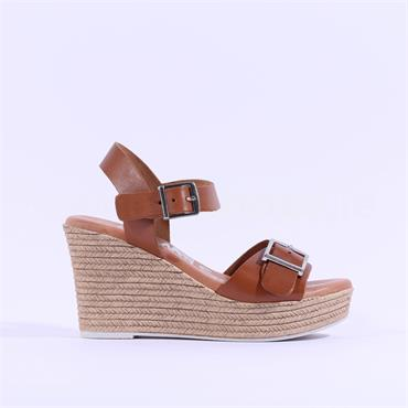 Oh My Sandals Espradrille Wedge Sandal - Tan Leather