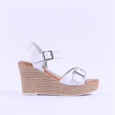Oh My Sandals Espradrille Wedge Sandal - White Leather