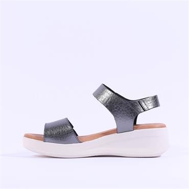 Oh My Sandals Double Velcro Strap Sandal - Dark Grey
