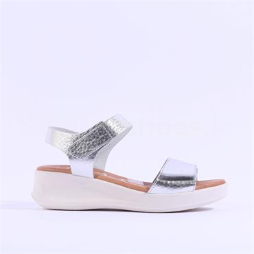 Oh My Sandals Double Velcro Strap Sandal - Silver Metallic