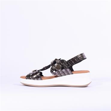 Oh My Sandals Wedge Disc Details - Black Metallic