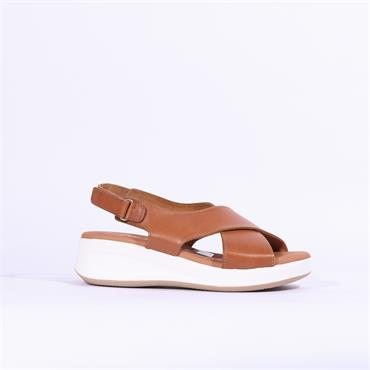 Oh My Sandals Cris Cross Wedge - Tan
