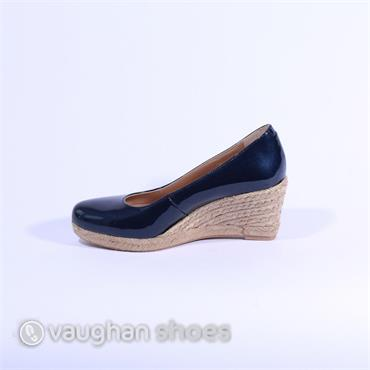 Pedro Anton Lower Espadrille Wedge - Navy Patent