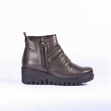 Pepe Menargues Side Zip Wedge Boot - Grey Leather