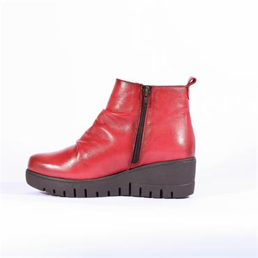 Pepe Menargues Side Zip Wedge Boot - Red Leather