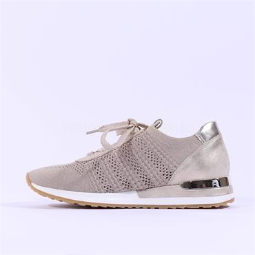 Remonte Knitted Laced Trainer - Beige Combi
