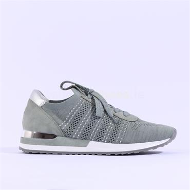 Remonte Knitted Laced Trainer - Green Combi