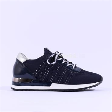 Remonte Knitted Laced Trainer - Navy Combi