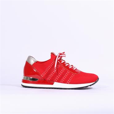 Remonte Knitted Laced Trainer - Red Combi
