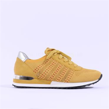 Remonte Knitted Laced Trainer - Yellow Combi