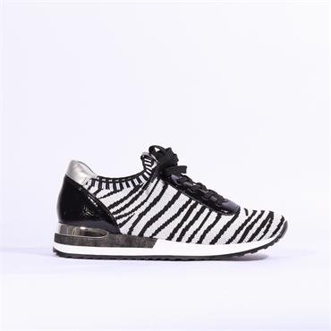 Remonte Knitted Laced Trainer - White Silver Black