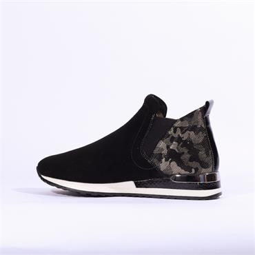 Remonte Slip On Fur Lined Print Heel - Black Combi