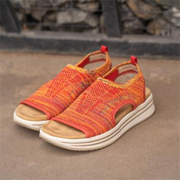 Remonte Knitted Stretch Sandal - Orange Multi