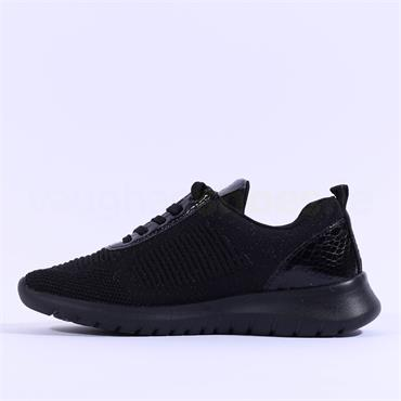 Remonte Knitted Trainer With Side Zip - Black