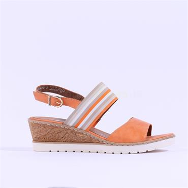 Remonte Sling Back Wedge Sandal - Orange Combi