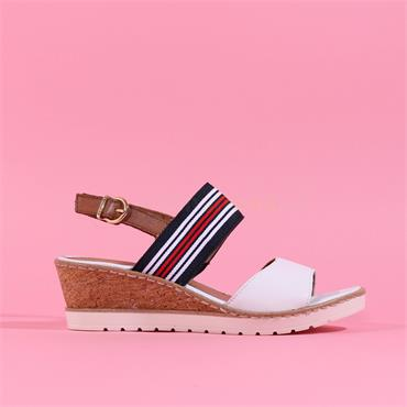 Remonte Sling Back Wedge Sandal - White Navy Red