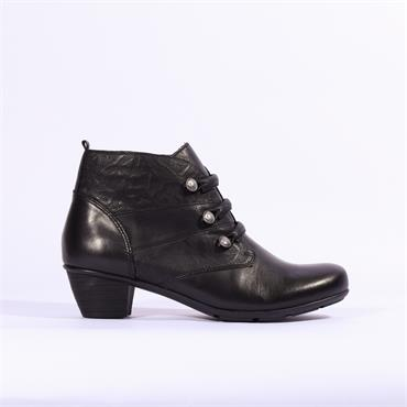 Remonte Cristallino Ankle Boot Side Zip - Black Leather