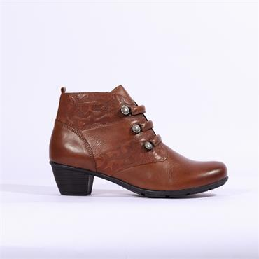 Remonte Cristallino Ankle Boot Side Zip - Brown