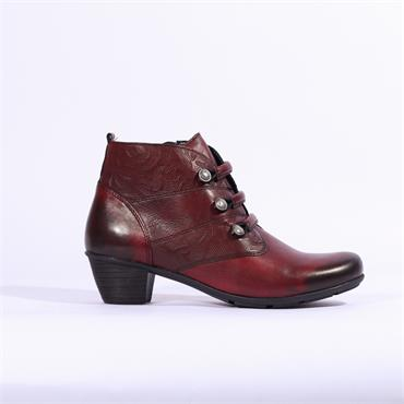 Remonte Cristallino Ankle Boot Side Zip - Red