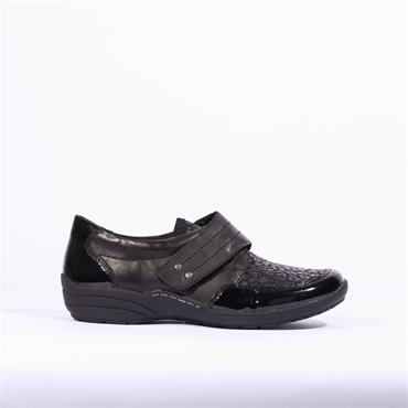 Remonte Shoe With Velcro Strap Lagro - Black Combi
