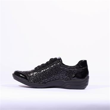 Remonte Laced Trainer With Side Zip - Black Combi