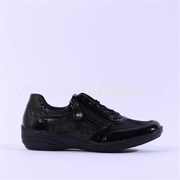 Remonte Laced Trainer With Side Zip - Black Print