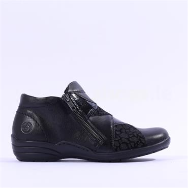 Remonte Twin Zip Boot Print Detail - Black Combi