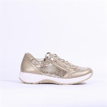 Remonte Laced Trainer Side Zip - Bronze